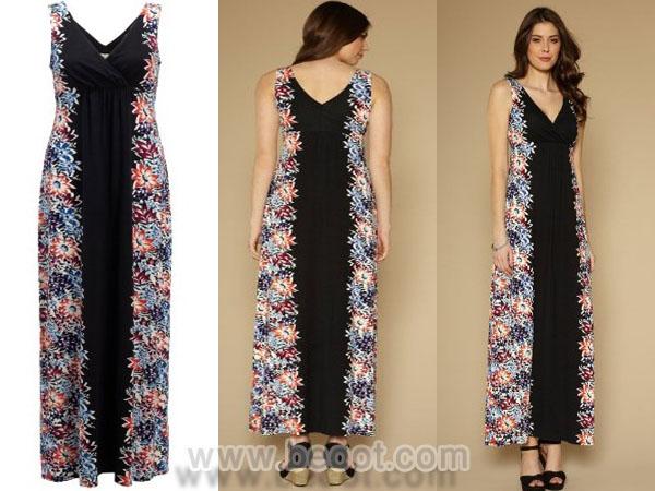 فستان ماكسي اسود باللون البنفسجي و الازرق من الجانبين من مونسون