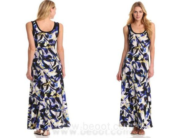 فستان ماكسي بمطبوعات ورد ملونة من كالفين كلاين