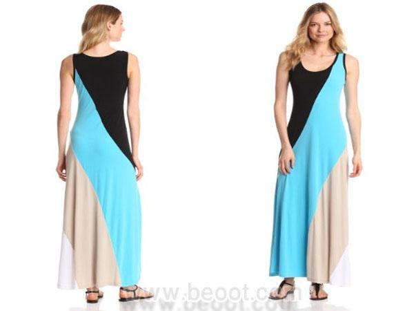 فستان ماكسي باللون الازرق و الاسود و الابيض من كالفين كلاين