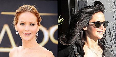 جنيفر لورنس للمرة الثانية في اقل من عام قامت بطلة  Hunger Games بتغيير لون شعرها من اللون الاشقر الى الاسود
