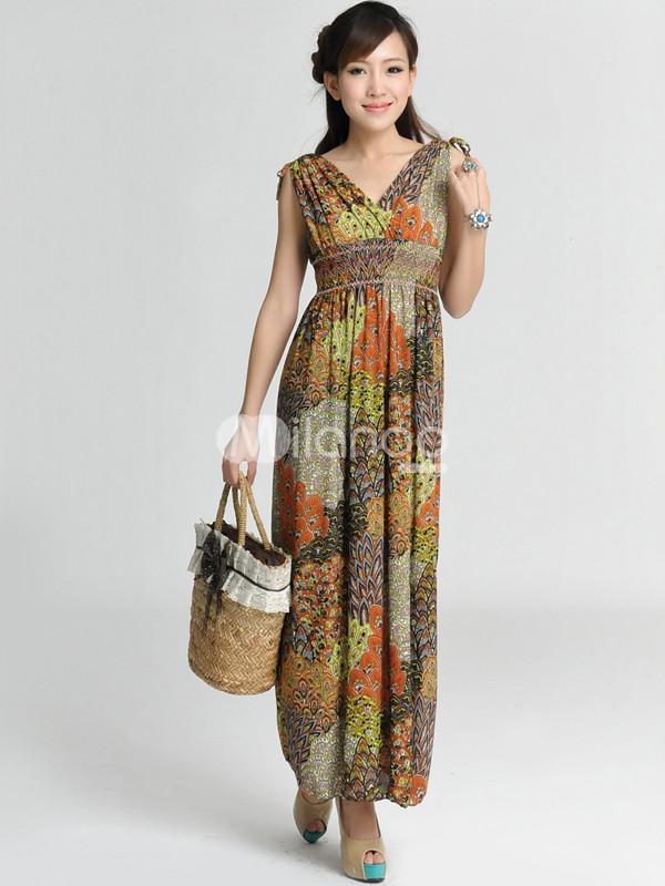 فستان طويل مكسي ببلين برتقالي بمطبوعات ورود