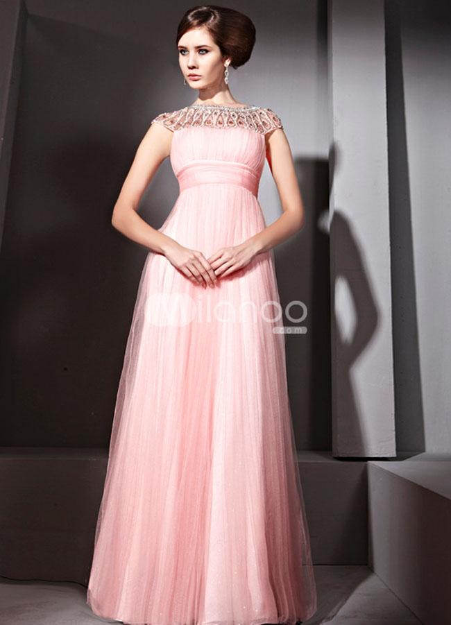 فستان سهرة طويل مكسي لون زهري