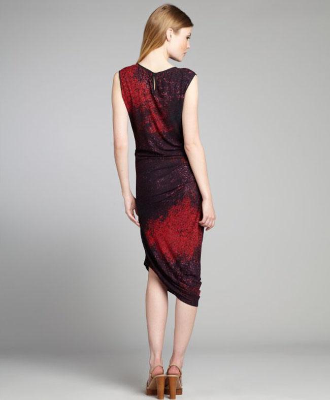 فستان مكسي مميز لون خمري و احمر