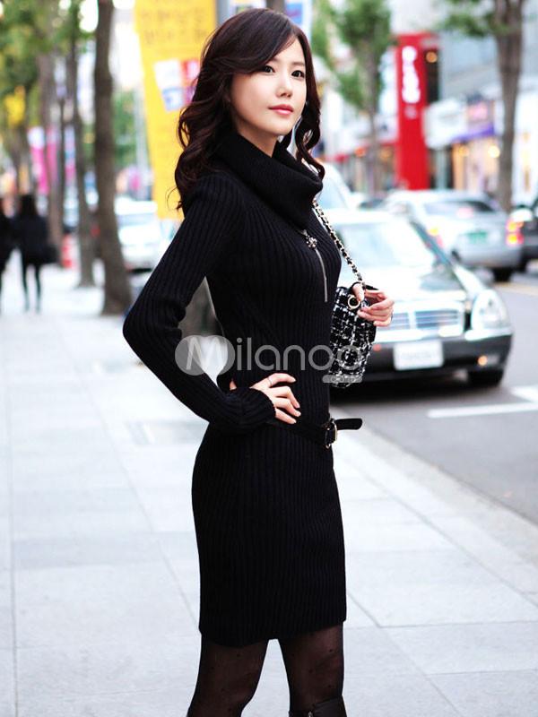 فستان كم كامل لون اسود