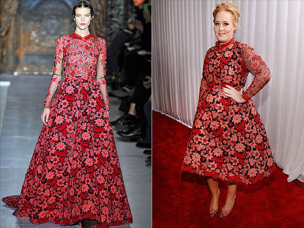 اديل في فستان من فالنتينو,قامت اديل بارتداء فستان بمطبوعات الورود بطول الركبة في حفل جوائز الغرامي