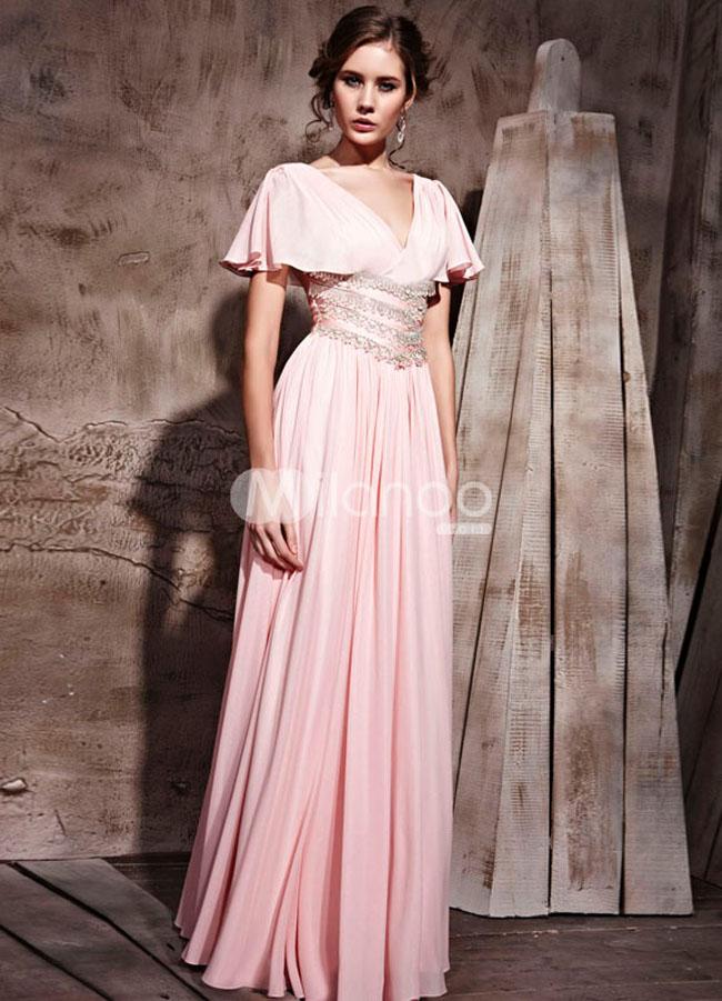 فستان حفلات تخرج شيفون لون زهري