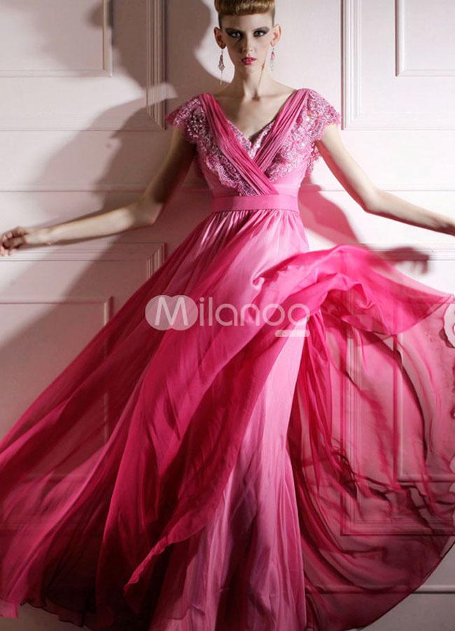 فستان سهرة شيفون لون فوشي