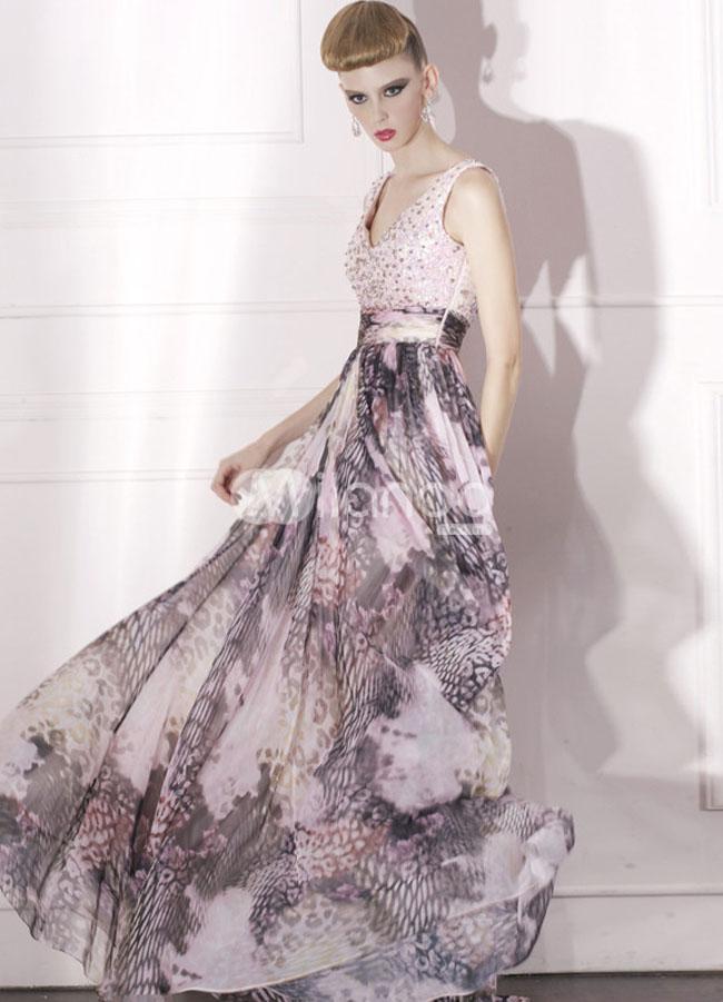 فستان سهرة شيفون لون ليلكي