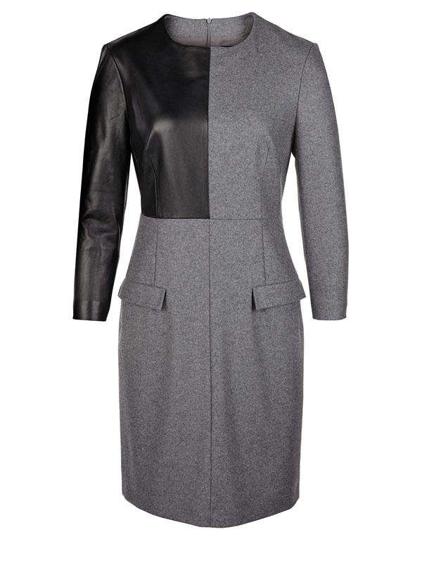 فستان لون رمادي مع اسود كم كامل من تصميم الكسندر مكوين