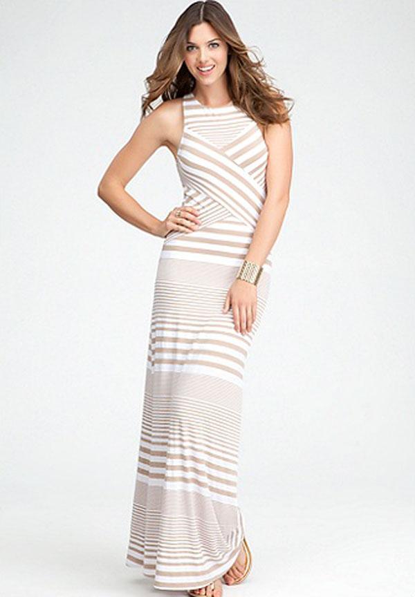 فستان سهرة مكسي ابيض مخطط  من بيبي BEBE