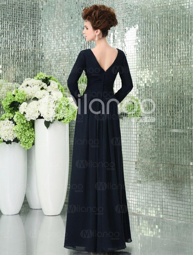فستان حفلات تخرج شيفون طويل كم كامل لون كحلي