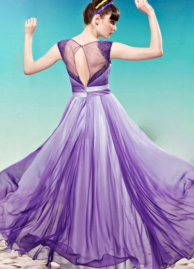 فستان حفلات تخرج شيفون لون بنفسجي