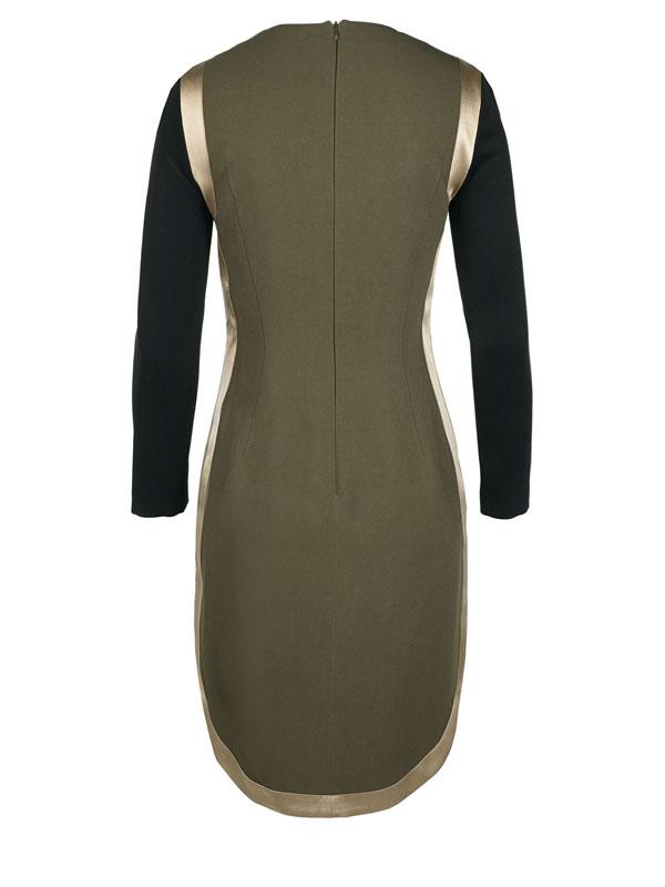 فستان لون ذهبي مع اسود كم كامل من تصميم جيفينشي