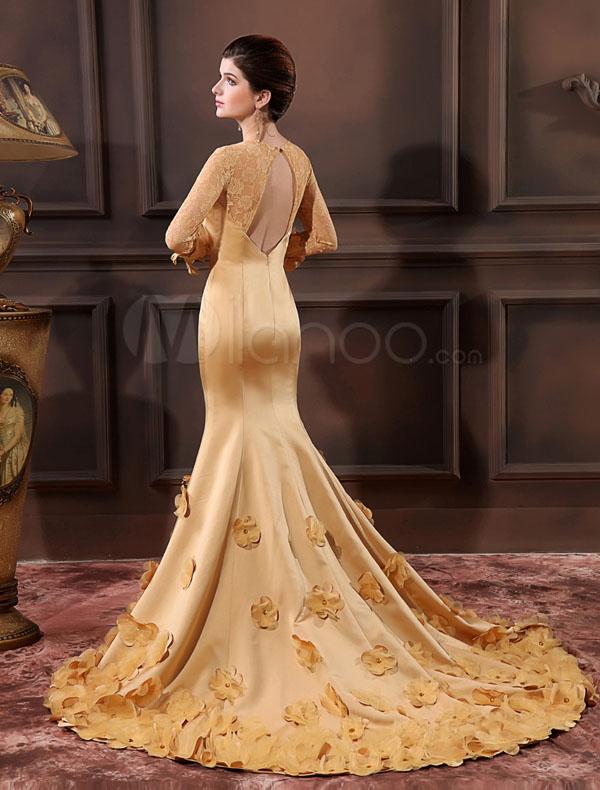 فستان سهرة ذهبي اللون كم كامل قبة سبعة