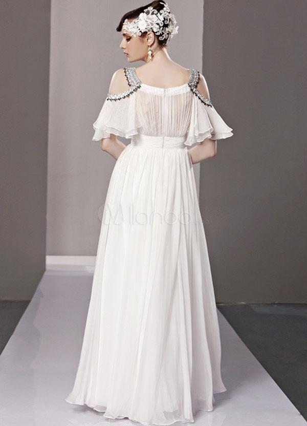 فستان سهرة شيفون طويل كم كامل لون ابيض