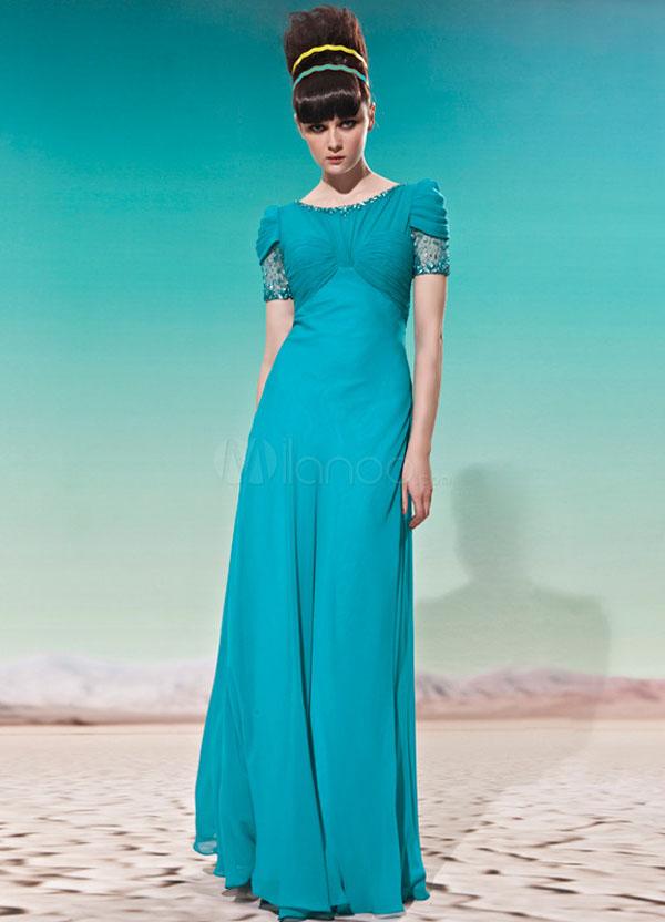 فستان حفلات سهرة لون ازرق مكسي
