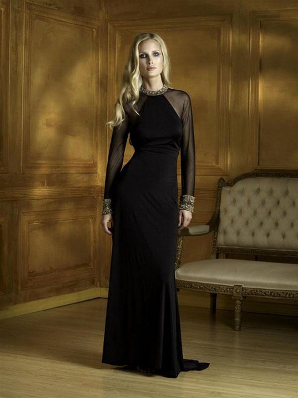 فستان سهرة مكسي كم كامل لون اسود من تصميم تيراني