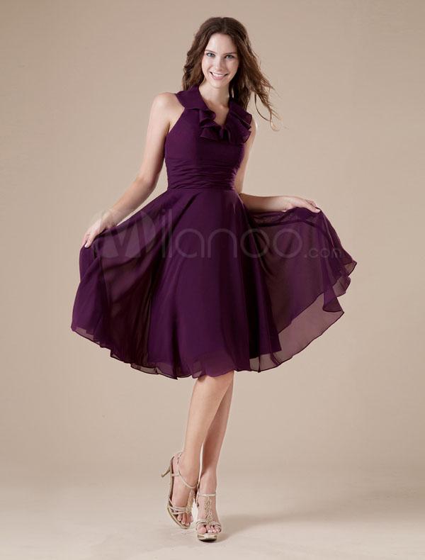 فستان حفلات تخرج شيفون لون نهدي