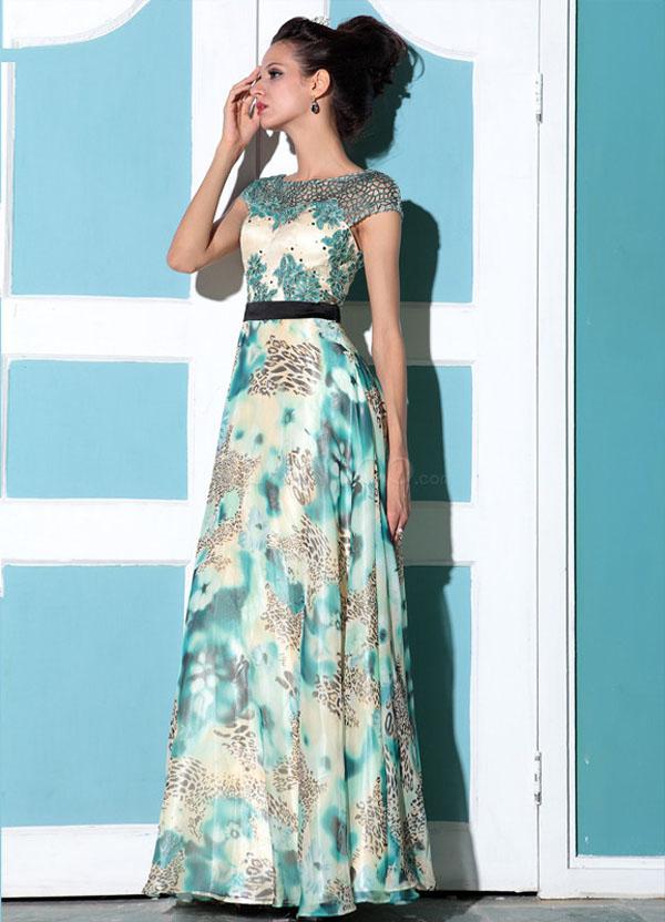 فستان حفلات تخرج شيفون راقي لون ازرق بمطبوعات وردية