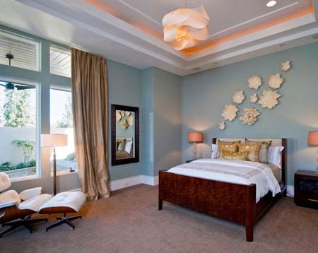 افكار ديكور جدران غرف النوم اللون الفاتح